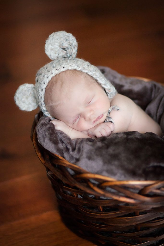 newborn in knitted bear hat in basket - chester nh