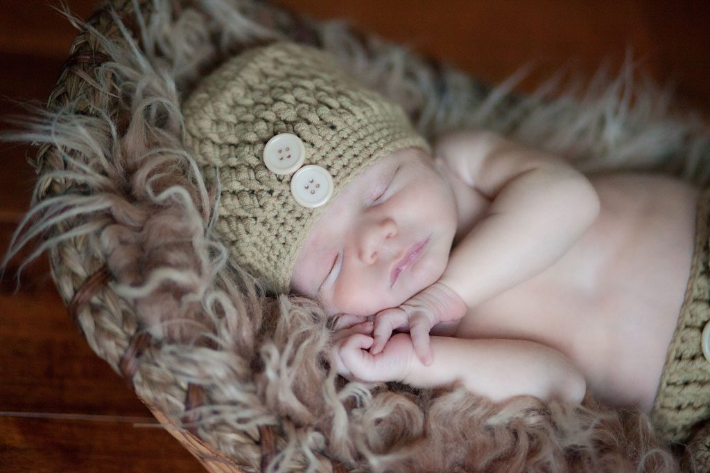 newborn in knitted hat - chester nh