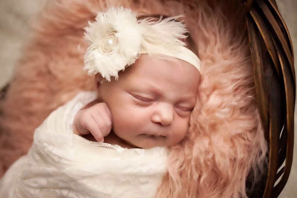 Baby-V-12--newborn baby on pink fur in basket--windhamnhnewborn--www.daniellebustamante.com--#nhnewborn #newbornphotographer #newmom